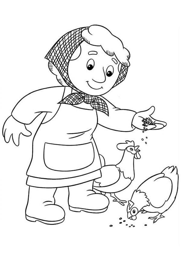 Postman Pat, : Marie Gogiens Feed Chicken in Postman Pat Coloring Pages