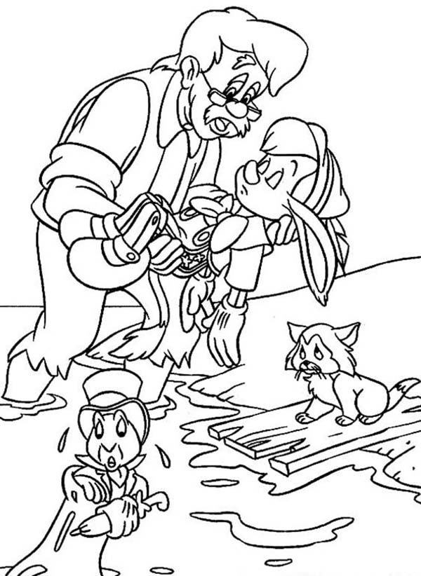 Pinocchio, : Mister Geppetto Save Pinocchio from Drowning Coloring Pages