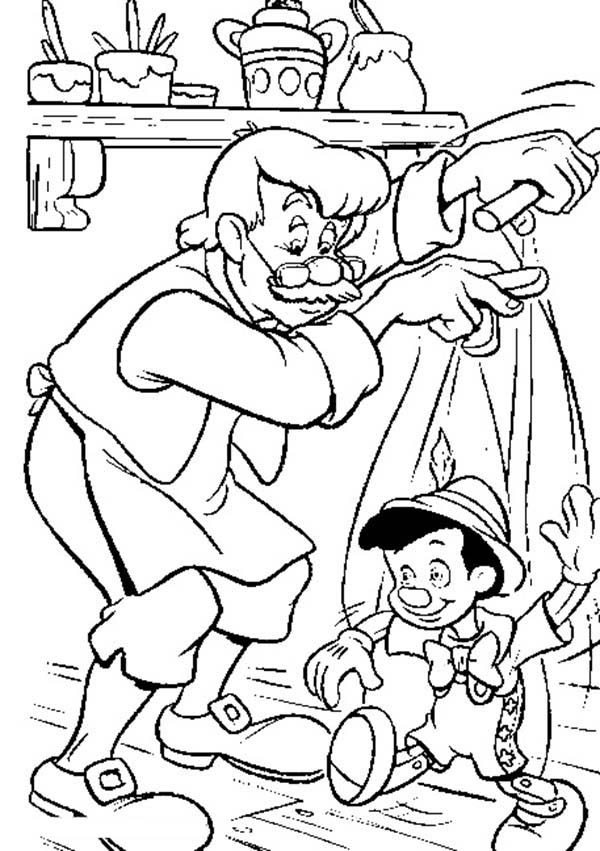 Pinocchio, : Mr Geppetto Play Pinocchio the String Puppet Coloring Pages