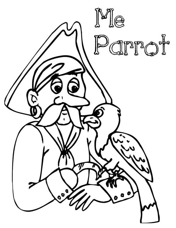 Pirates, : Mr Pirate and His Parrot Coloring Pages
