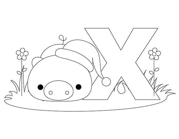 Letter X, : Normal Letter X Coloring Page