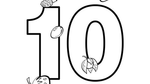 Number 10, : Number 10 Coloring Page