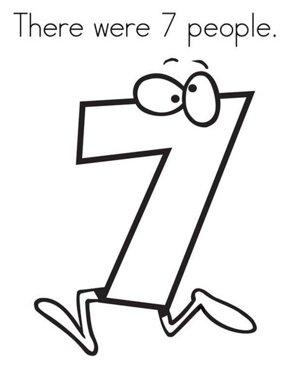 Number 7, : Number 7 Running Away Coloring Page