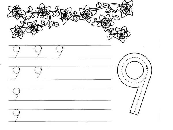 Number 9, : Number 9 Worksheet Coloring Page