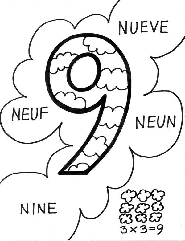 Number 9, : Number 9 in Several International Language Coloring Page