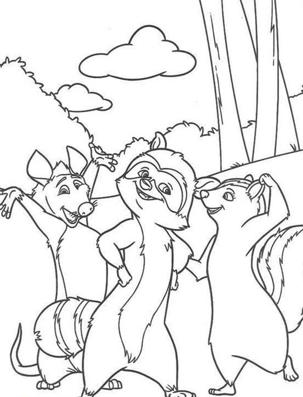 Over the Hedge, : Over the Hedge Walking in the Wood Coloring Pages