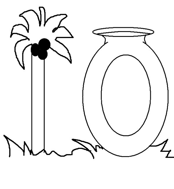 Number 10, : Palm Tree for Number 10 Coloring Page