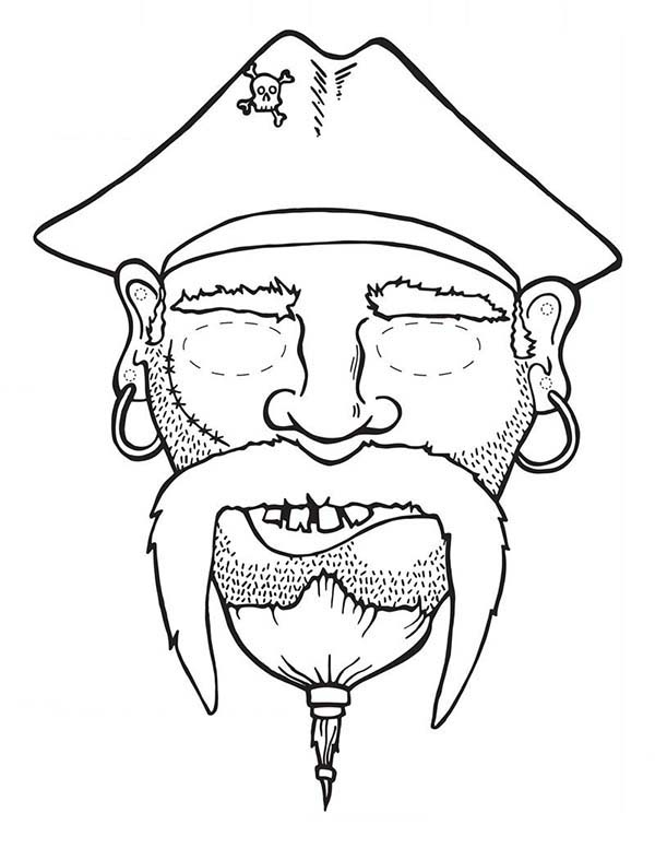 Piet Pirate, : Picture of Head Piet Pirate Coloring Pages