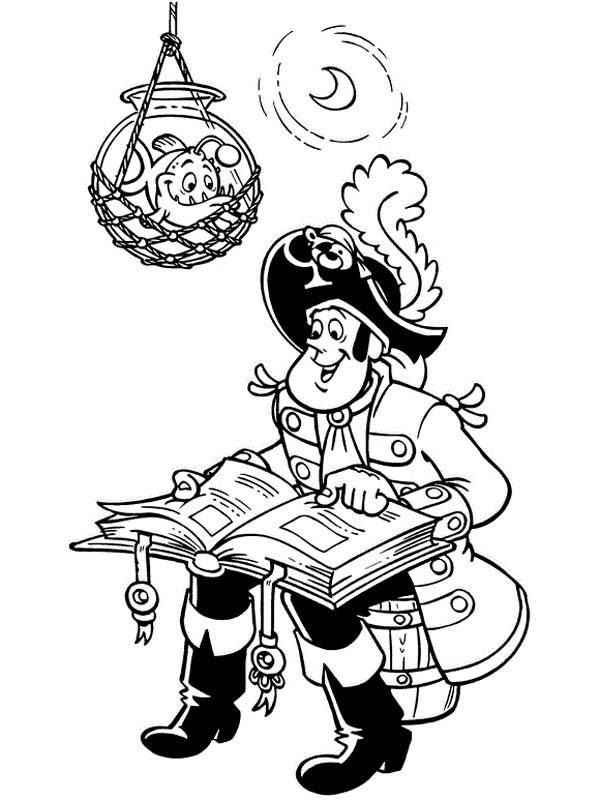 Piet Pirate, : Piet Pirate Captain Reading a Book Coloring Pages