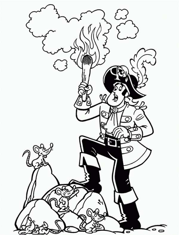 Piet Pirate, : Piet Pirate Captain Surprise to See Mouse Coloring Pages