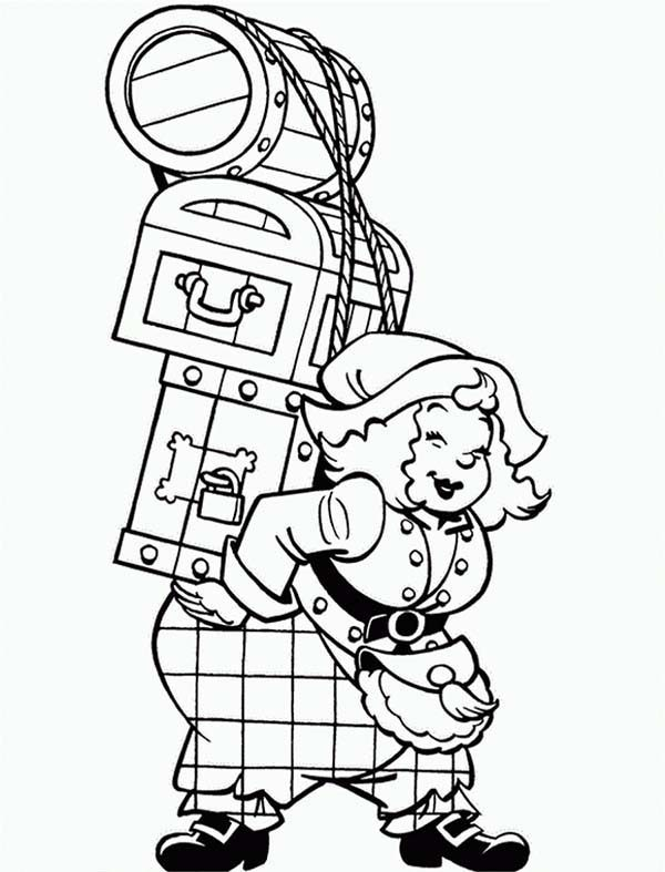 Piet Pirate, : Piet Pirate Crew Berend Brokkenpap Carrying Treasure Chest Coloring Pages
