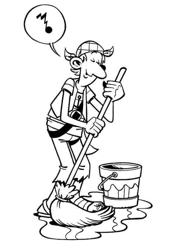 Piet Pirate, : Piet Pirate Crew Steven Stil Moping Ship Floor Coloring Pages