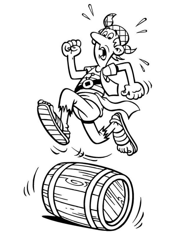 Piet Pirate, : Piet Pirate Crew Steven Stil Running on a Barrel Coloring Pages