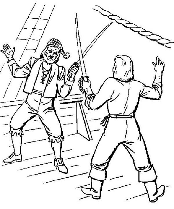 Piet Pirate, : Piet Pirate Fight with Another Pirate Captain Coloring Pages