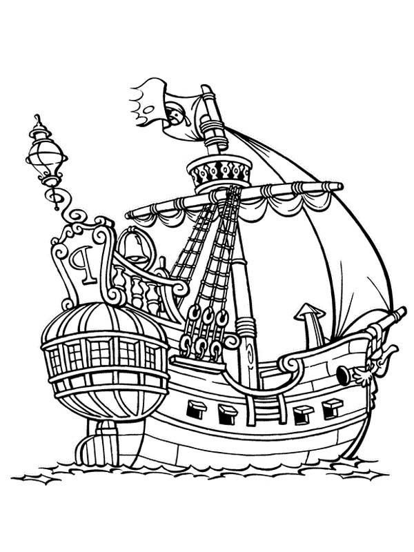 Piet Pirate, : Piet Pirate Galleon Coloring Pages