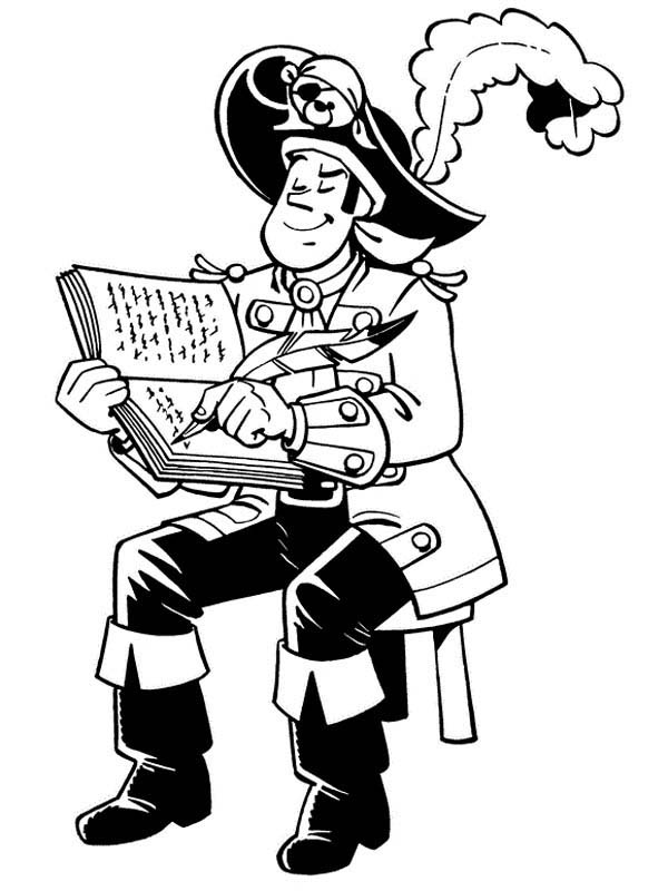 Piet Pirate, : Piet Pirate Making Notes about Their Journey Coloring Pages