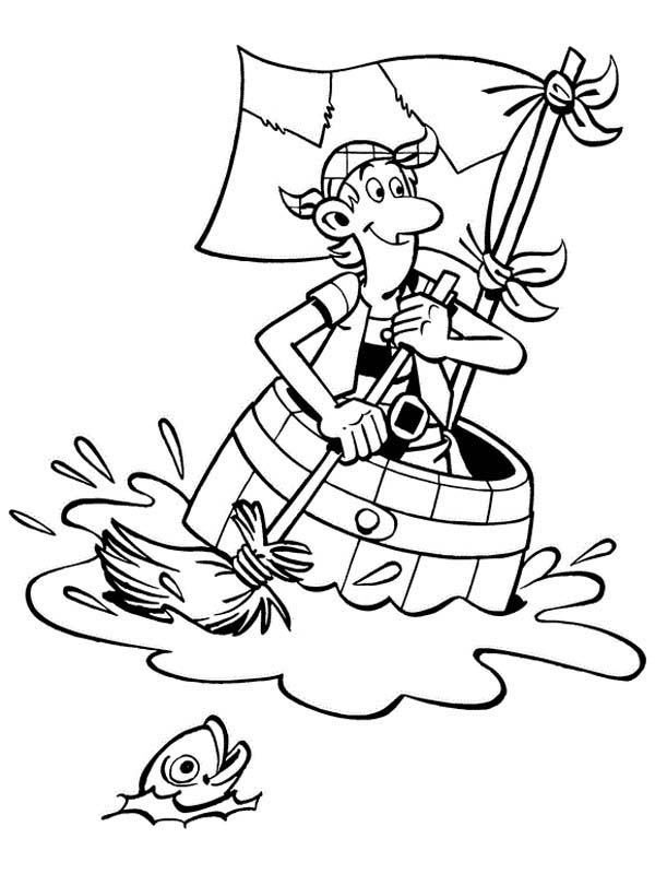 Piet Pirate, : Piet Pirate Paddling a Little Boat Coloring Pages