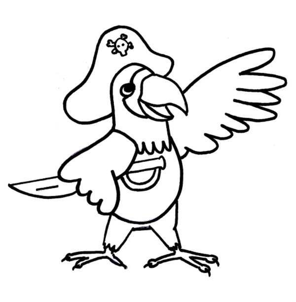 Piet Pirate, : Piet Pirate Parrot Coloring Pages