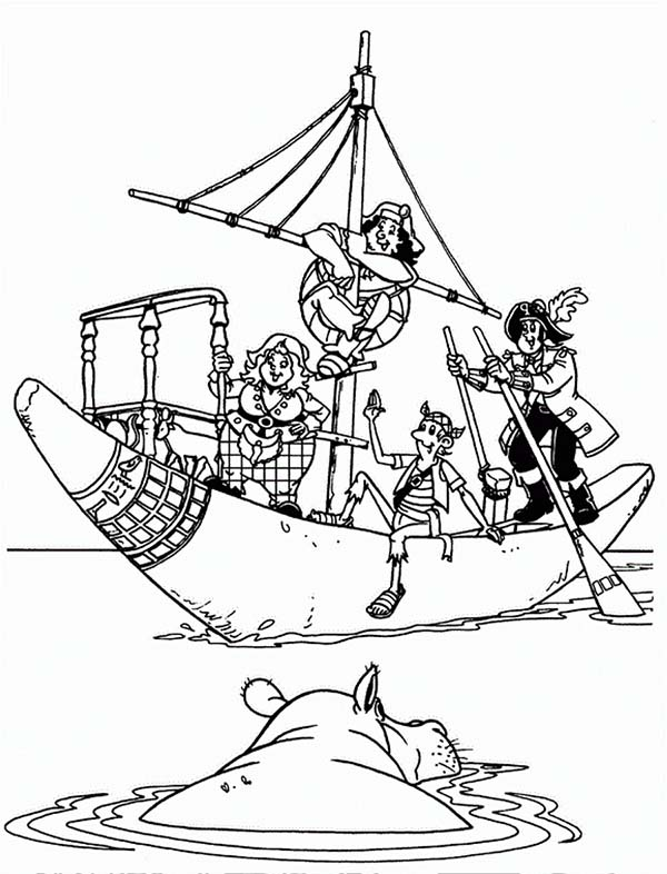 Piet Pirate, : Piet Pirate Saving Hippo Coloring Pages