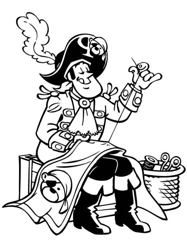 Piet Pirate, : Piet Pirate Sewing Up Pirate Flag Coloring Pages