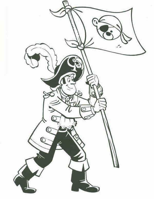 Piet Pirate, : Piet Pirate Stick Pirate Flag on New Island Coloring Pages