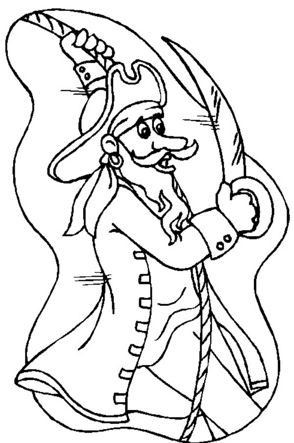 Piet Pirate, : Piet Pirate Swinging on Rope Coloring Pages