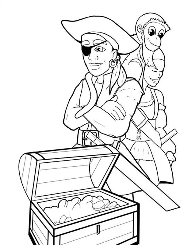 Piet Pirate, : Piet Pirate Treasure Chest Coloring Pages