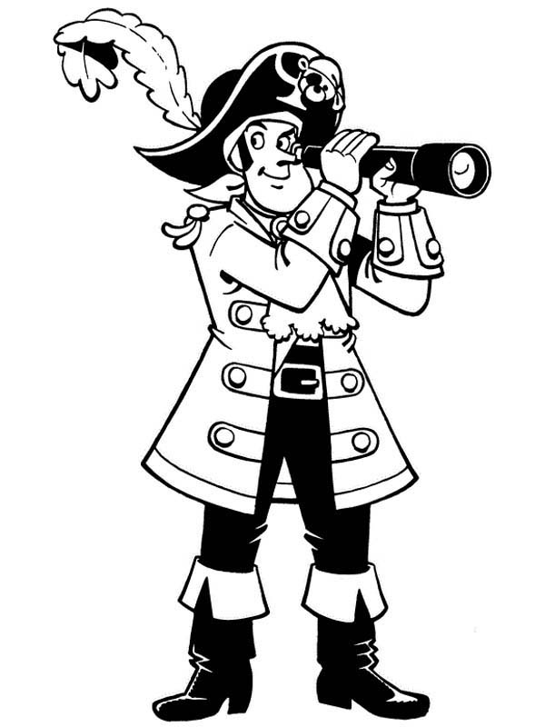 Piet Pirate, : Piet Pirate Using Telescope Coloring Pages