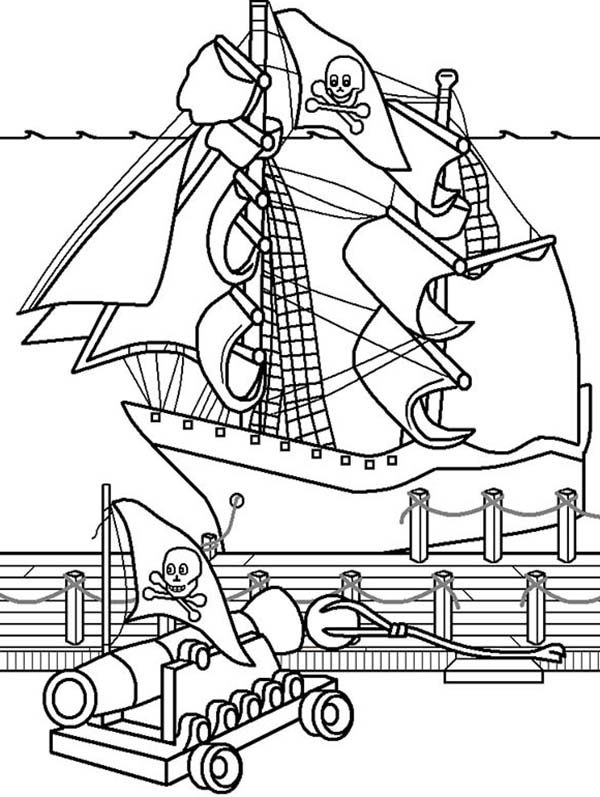 Piet Pirate, : Piet Pirate War with Another Pirate Ship Coloring Pages
