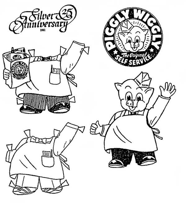 Piggly Wiggly, : Piggly Wiggly Anniversary Coloring Pages