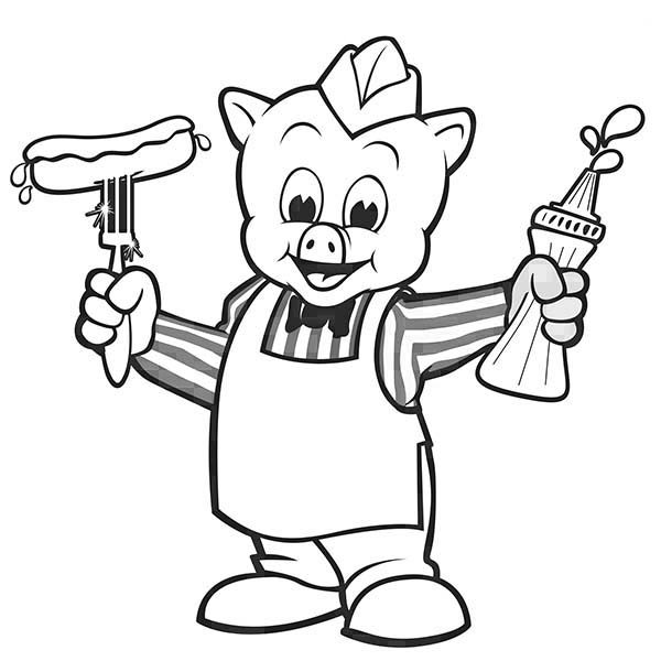 Piggly Wiggly, : Piggly Wiggly Become Hot Dog Seller Coloring Pages 2