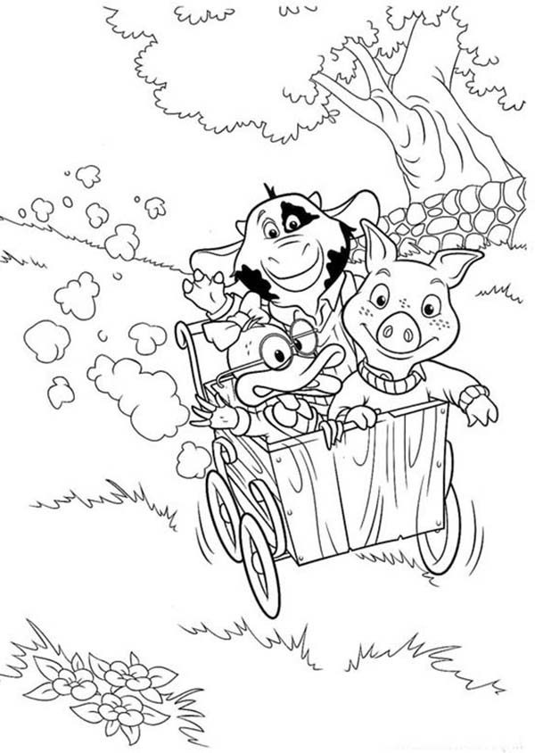 Piggly Wiggly, : Piggly Wiggly Down the Hill with Cart Coloring Pages