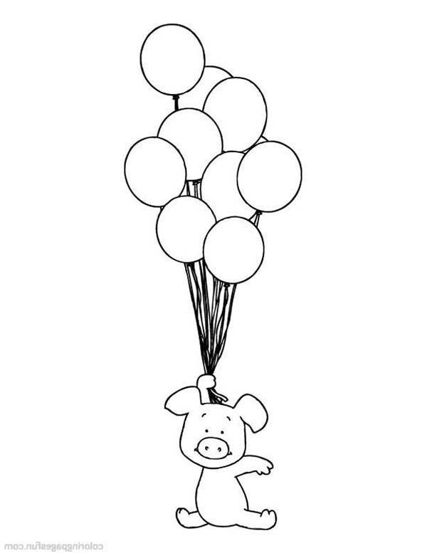 Piggly Wiggly, : Piggly Wiggly Flying with Balloons Coloring Pages