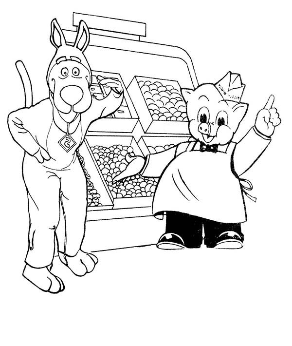 Piggly Wiggly, : Piggly Wiggly Fruit Seller Coloring Pages