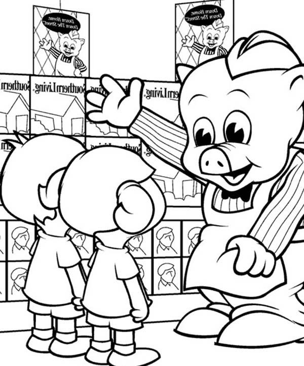 Piggly Wiggly, : Piggly Wiggly Meet to Kids Coloring Pages