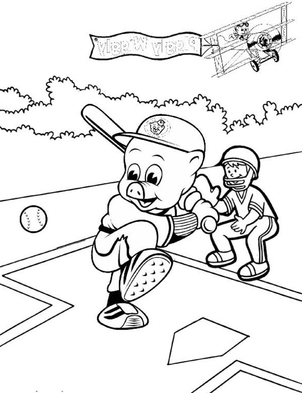 Piggly Wiggly, : Piggly Wiggly Playing Baseball Coloring Pages