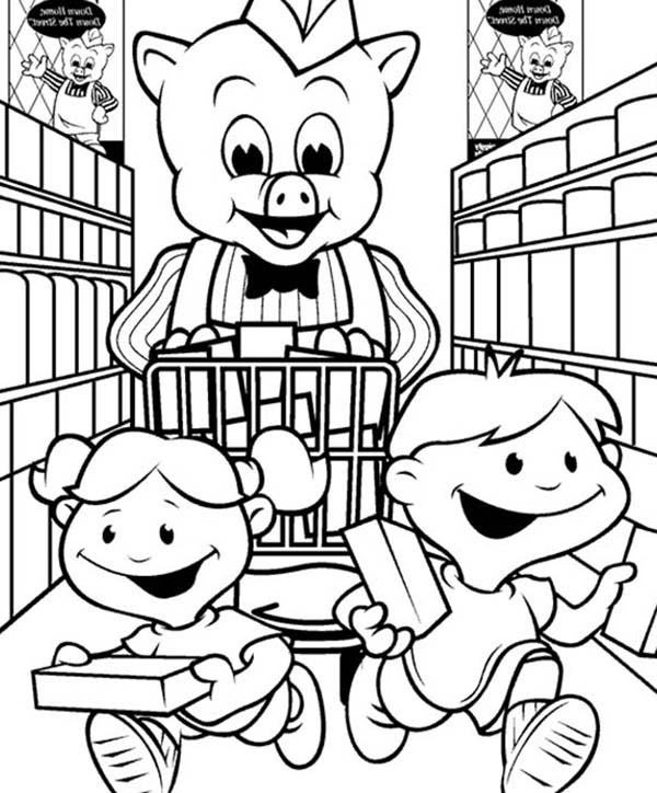 Piggly Wiggly, : Piggly Wiggly Shopping with Two Kids Coloring Pages