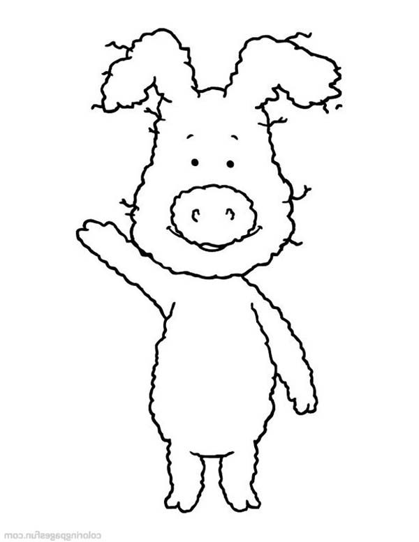 Piggly Wiggly, : Piggly Wiggly Waving Hand Coloring Pages