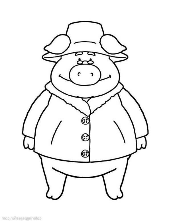 Piggly Wiggly, : Piggly Wiggly Wearing Leather Coat Coloring Pages