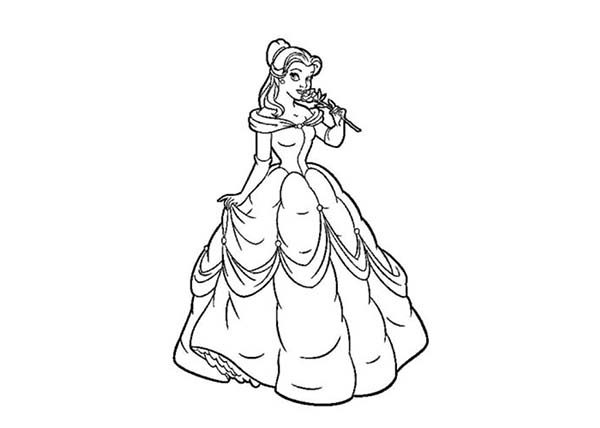 Princesses Birthday, : Pincture of Cinderella Smelling a Rose in Princesses Birthday Coloring Pages