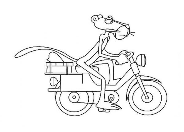 Pink Panther, : Pink Panther Delivering Package Coloring Pages