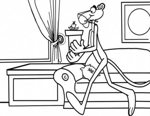 Pink Panther, : Pink Panther Finding Clue Coloring Pages