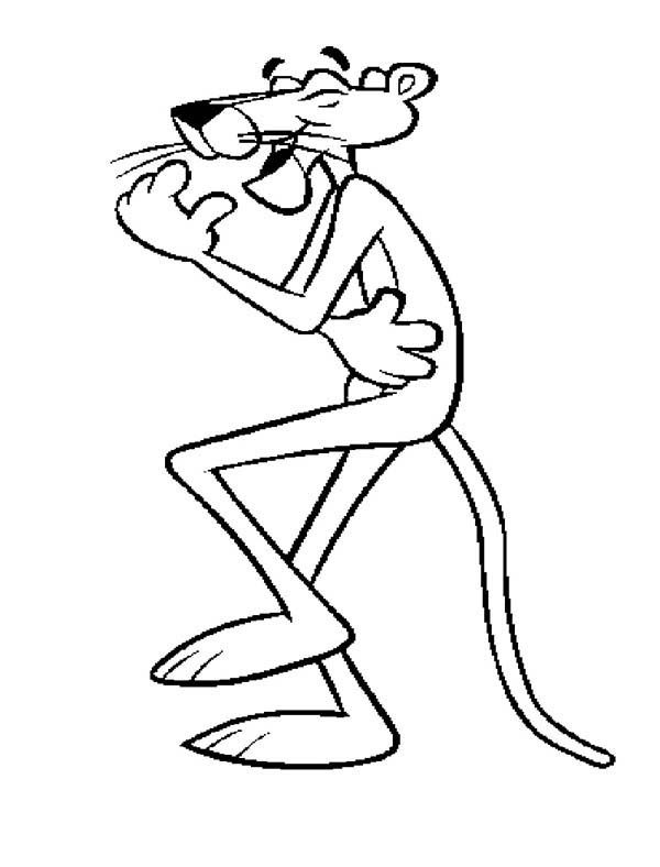 Pink Panther, : Pink Panther Laughing Hard Coloring Pages