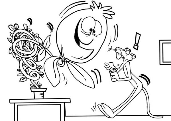 Pink Panther, : Pink Panther and Giant Plant Coloring Pages