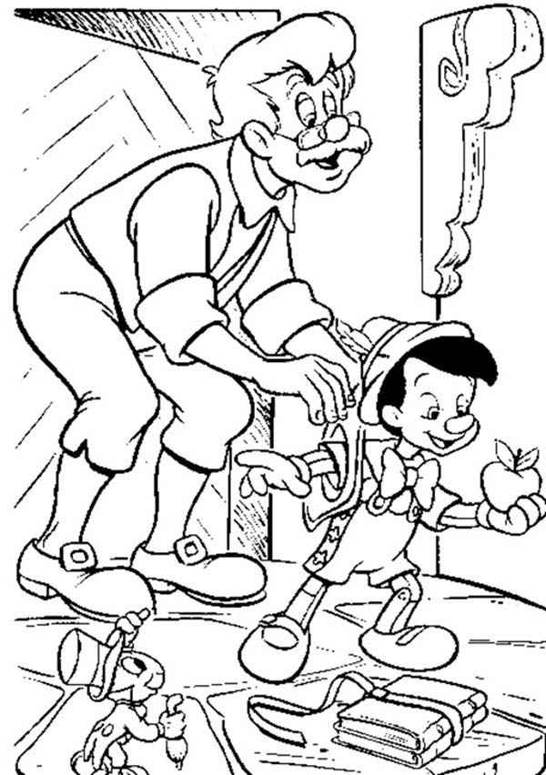 Pinocchio, : Pinocchio Become Mister Geppetto Darling Coloring Pages