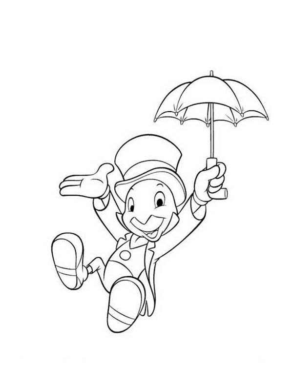 Pinocchio, : Pinocchio Character Jiminy Cricket Coloring Pages