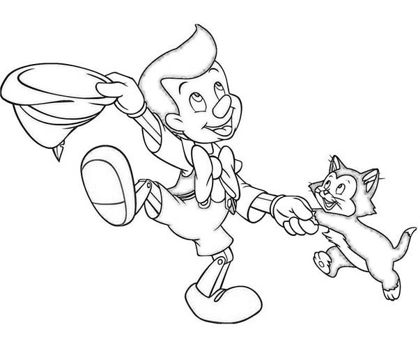 Pinocchio, : Pinocchio Dancing with Figaro Coloring Pages
