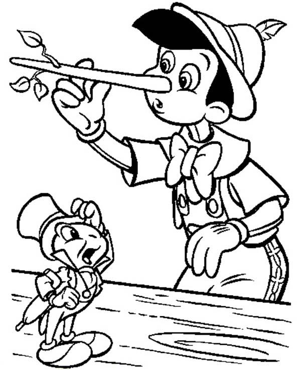 Pinocchio, : Pinocchio Nose Growing Because He Lie Coloring Pages