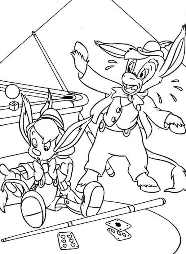 Pinocchio, : Pinocchio Play Billiard Coloring Pages