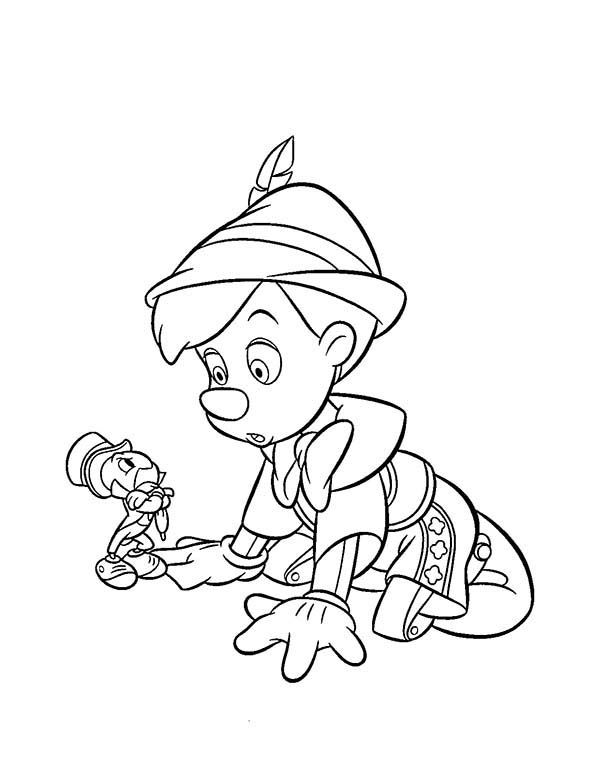 Pinocchio, : Pinocchio Talking to Jiminy Cricket Coloring Pages